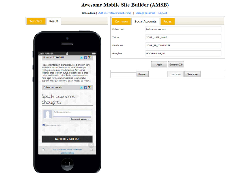 Awesome Mobile Site Builder (AMSB): Stand-alone Version